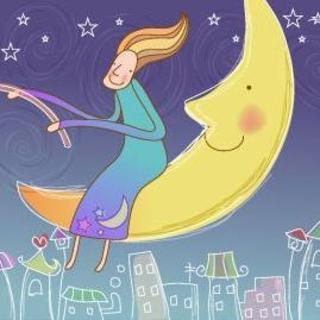 卡通画剪纸摘星星月亮