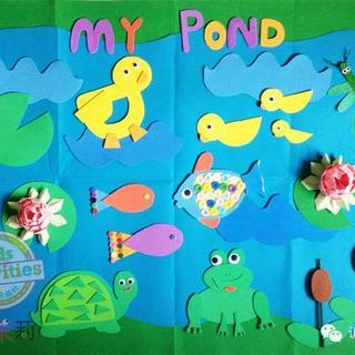 青蛙,鱼,乌龟  除了这些小动物们,池塘里还有其他很多东西呢!