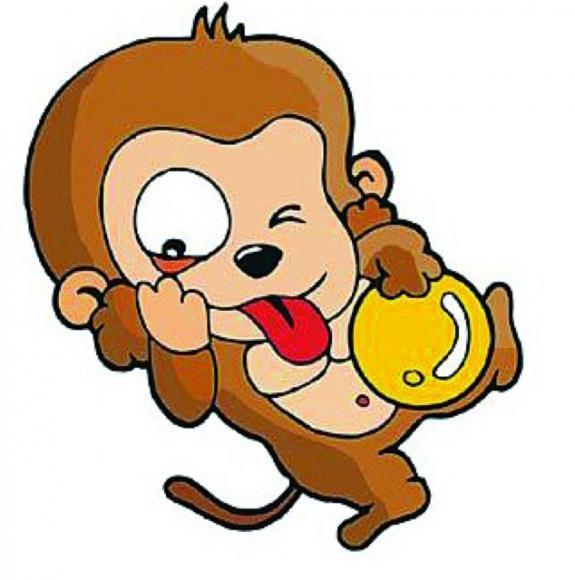 猴子抱西瓜简笔画 可爱