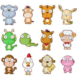 以人的出生年份的十二生肖,包括鼠,牛,虎,兔,龙,蛇,马,羊,猴,鸡,狗,猪