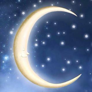 月亮星空手绘矢量