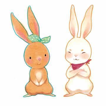 卡通兔子头像灰色