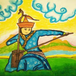 蒙古风景儿童画