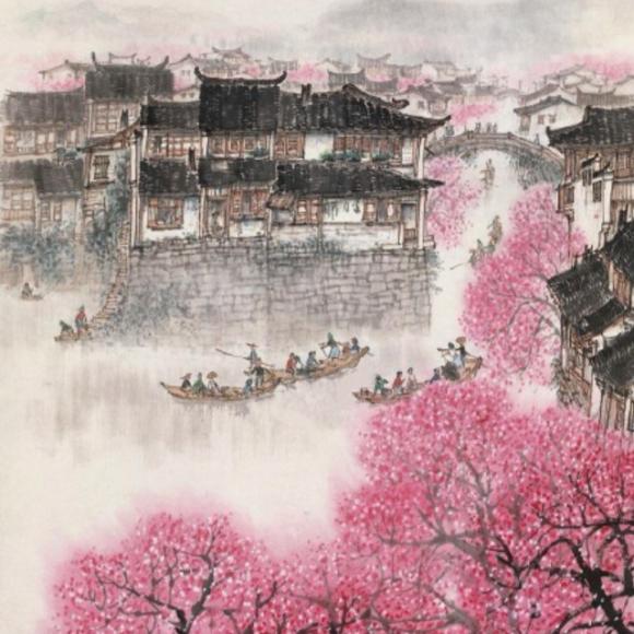江南风景手绘儿童
