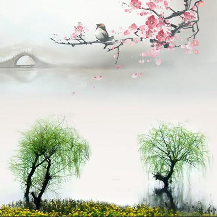 手绘亭台夕阳图片