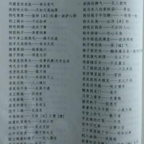 小学语文资料包-歇后语-包含十二生肖的歇后语图片