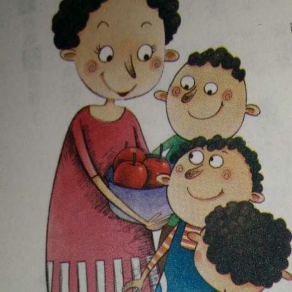 朵朵幼儿园的阿姨给小朋友分苹果