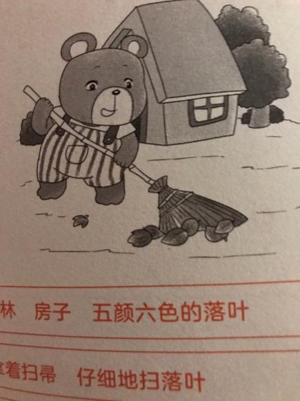 08 小熊扫落叶图片