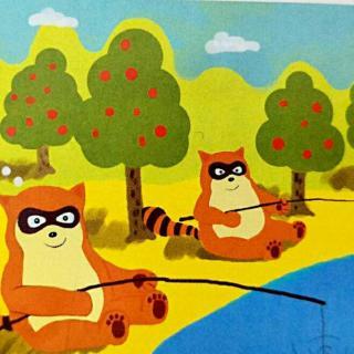 小浣熊钓鱼图片