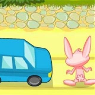 """山羊老师正在讲""""交通安全"""",小动物们认真地听着,只有小白兔不耐烦地小"""