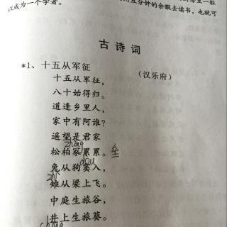 古诗朗诵 唐汉乐府 十五从军征