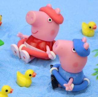 猪爸爸带着佩齐乔智去游泳,乔智的泳帽不见了