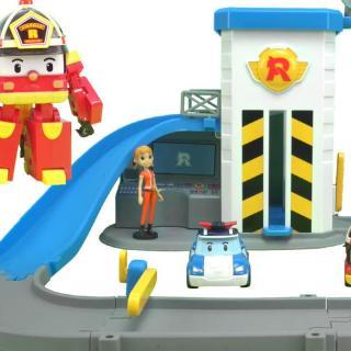 变形警车珀利升降梯轨道玩具