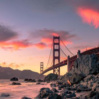 【白噪声】城市之光 旧金山金门大桥下的海声