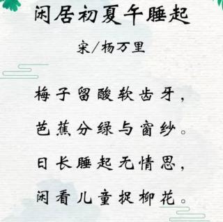 54 闲居初夏午睡起二首(其一)(南宋•杨万里)
